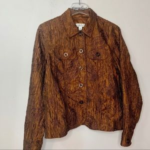 Coldwater Creek Brown Crinkle Button Front Jacket